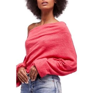 We The Free Coral Skyline Off the Shoulder Sweater